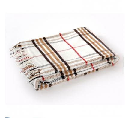 Cotton Blanket - Brown and Cream Tartan