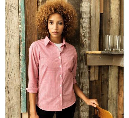 Premier Women's Microcheck Long Sleeve Cotton Shirt (PR320)