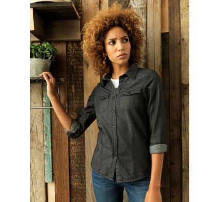Premier Women's Jean Stitch Denim Shirt (PR322)