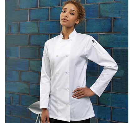 Premier Womens Long Sleeve Chef's Jacket (PR671)